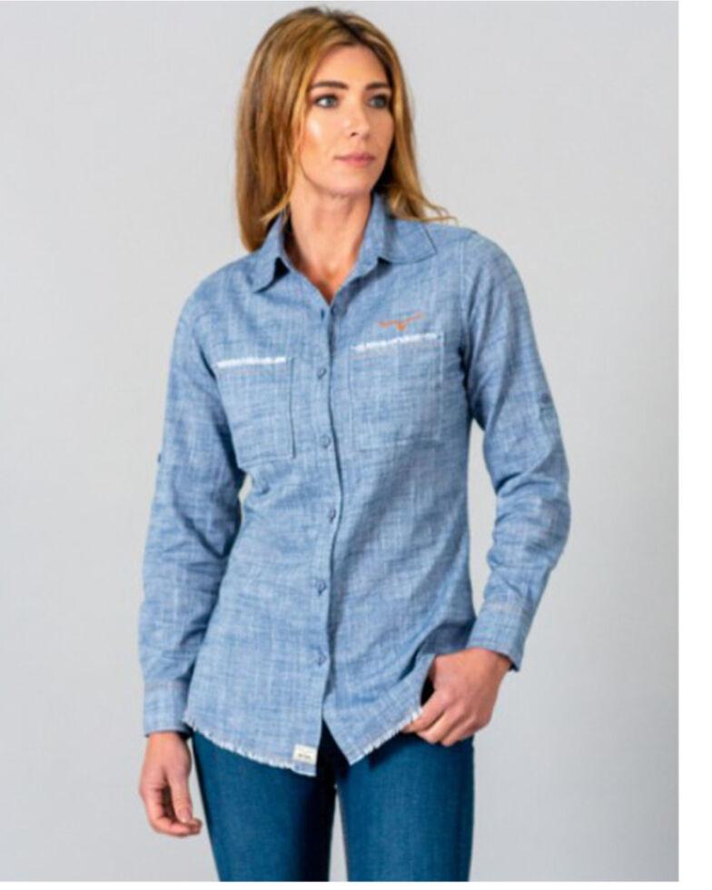 Kimes Ranch Women's Indigo Temple Top Long Sleeve Western Shirt , Blue, hi-res