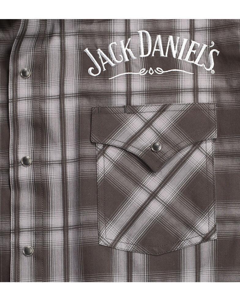 Jack Daniel's Men's Black Plaid Logo Embroidered Western Shirt , Black, hi-res