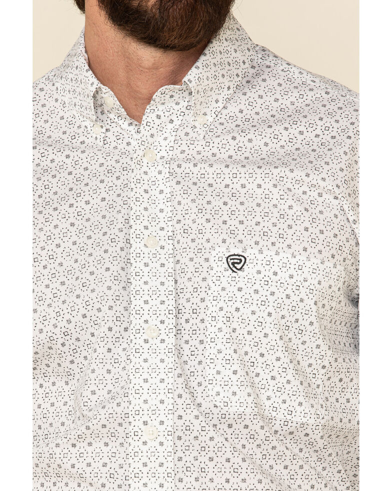 Rock & Roll Denim Men's White Geo Print Long Sleeve Western Shirt , White, hi-res