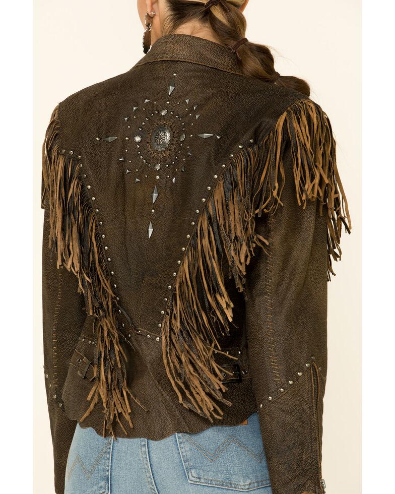 Cripple Creek Women's Acorn Fringe Front Studded Jacket, Medium Brown, hi-res