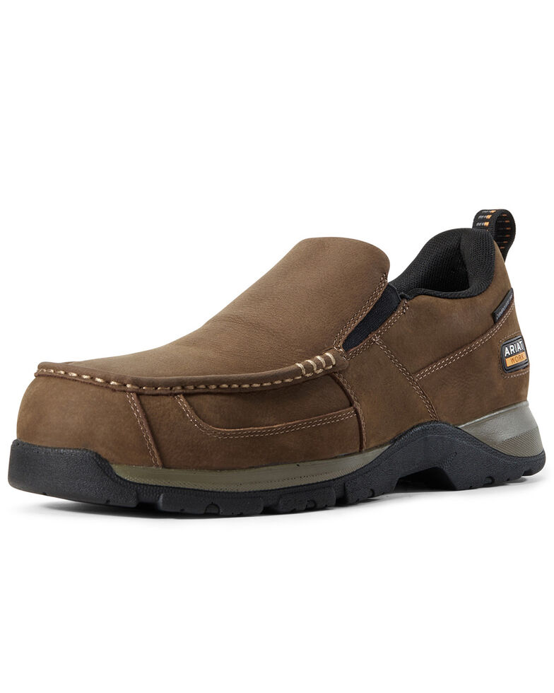 Ariat Men's Edge Lite Slip-On Work Shoes - Composite Toe, Brown, hi-res