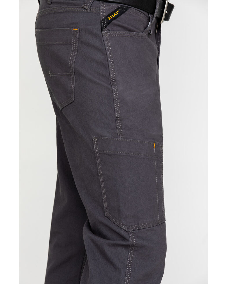 Ariat Men's Grey Rebar M4 Made Tough Durastretch Straight Leg Work Pants - Big , Grey, hi-res