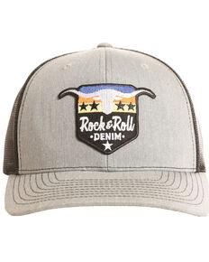 Rock & Roll Cowboy Men's Steer and Stars Ball Cap, Grey, hi-res
