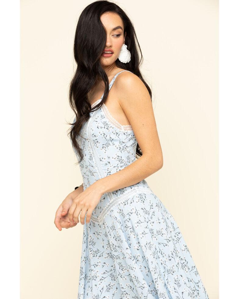 Miss Me Women's Blue Floral Lace Hanky Dress, Blue, hi-res