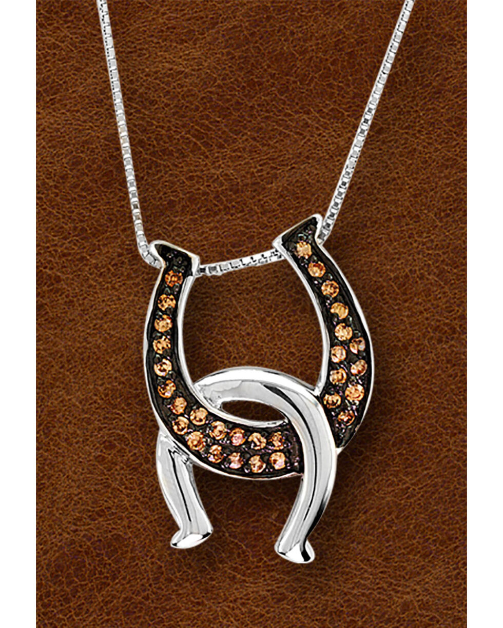 Kelly Herd Sterling Silver Interlocking Horseshoe Necklace, Silver, hi-res