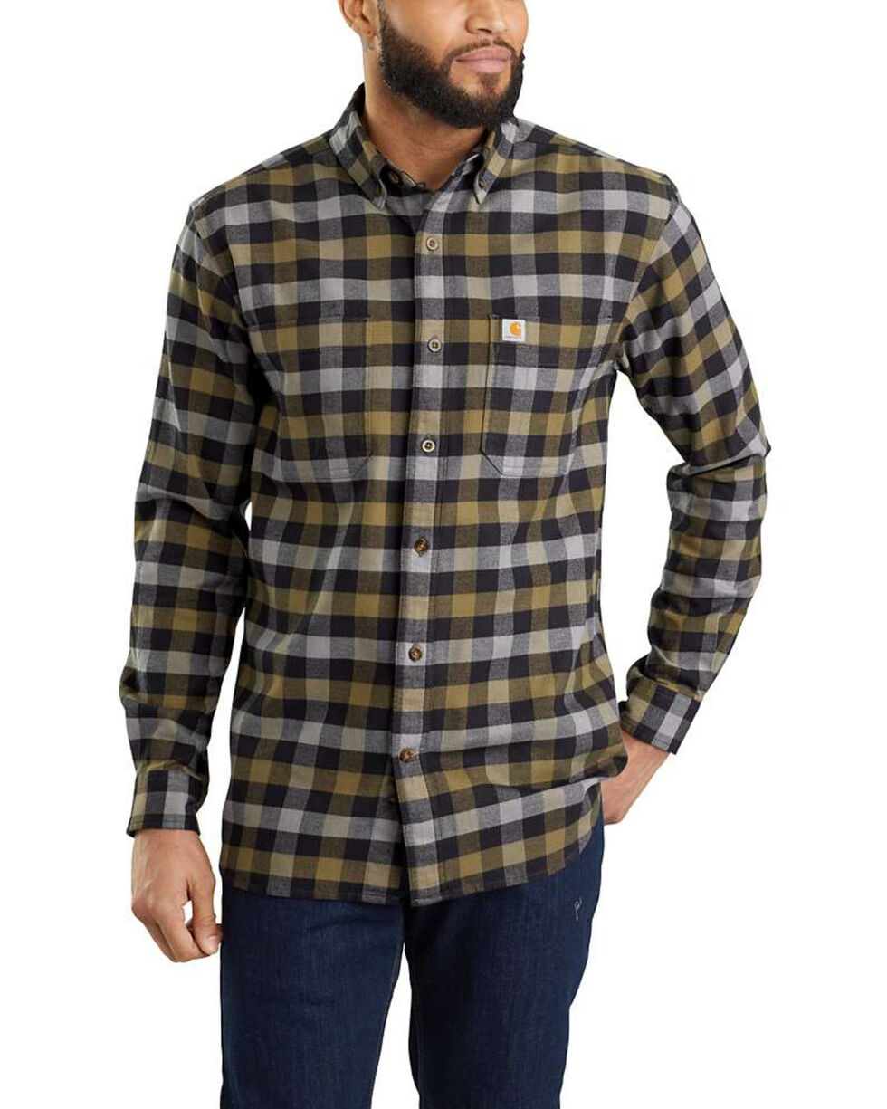 Carhartt Men's Rugged Flex Hamilton Plaid Long Sleeve Work Shirt , Black, hi-res