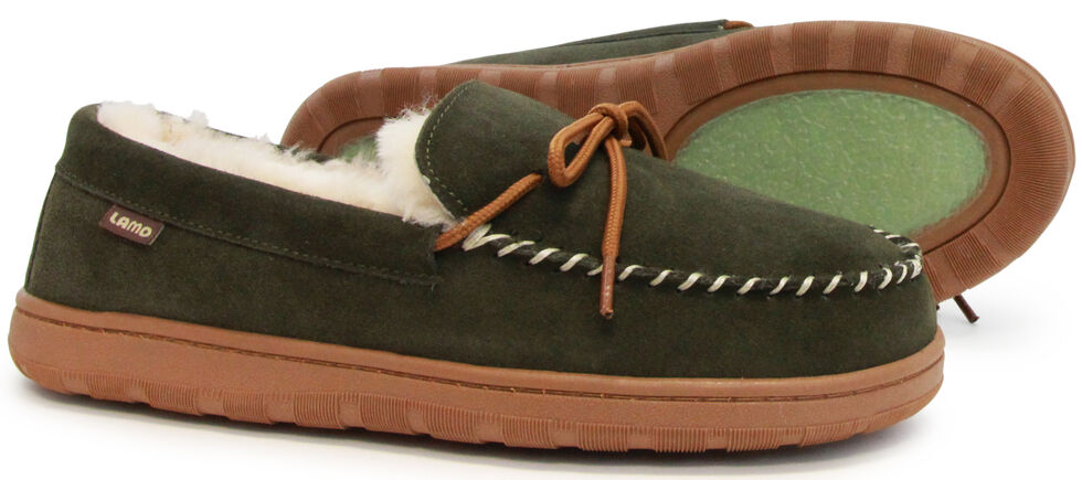 Lamo Men's Moccasins , Dark Green, hi-res