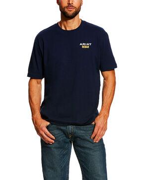 Ariat Men's Navy Rebar Cotton Strong Short Sleeve Logo Crew Work T-Shirt , Navy, hi-res