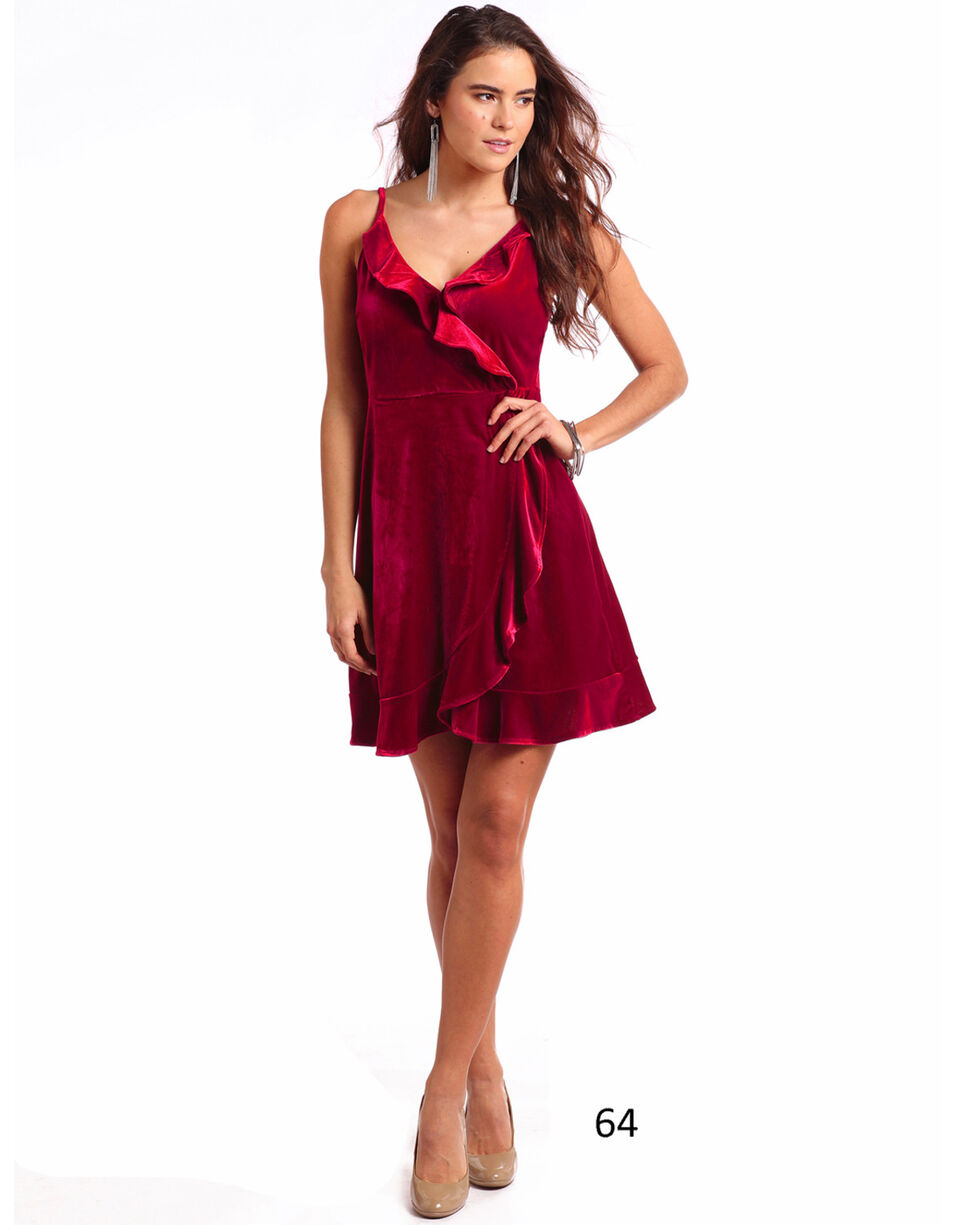 Panhandle Women's Velvet Ruffle Wrap Dress, Red, hi-res