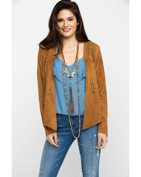 Vocal Women's Camel Suede Fringe & Stud Jacket , Camel, hi-res