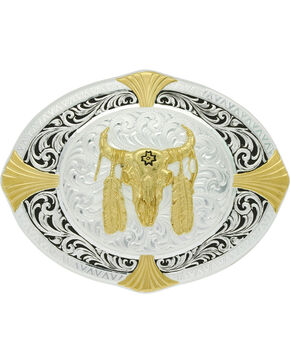 Montana Silversmiths Men's Bull Skull Cardinal Points Belt Buckle , Silver, hi-res