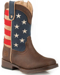 Roper Toddler Boys' American Patriot Boots - Square Toe , Brown, hi-res