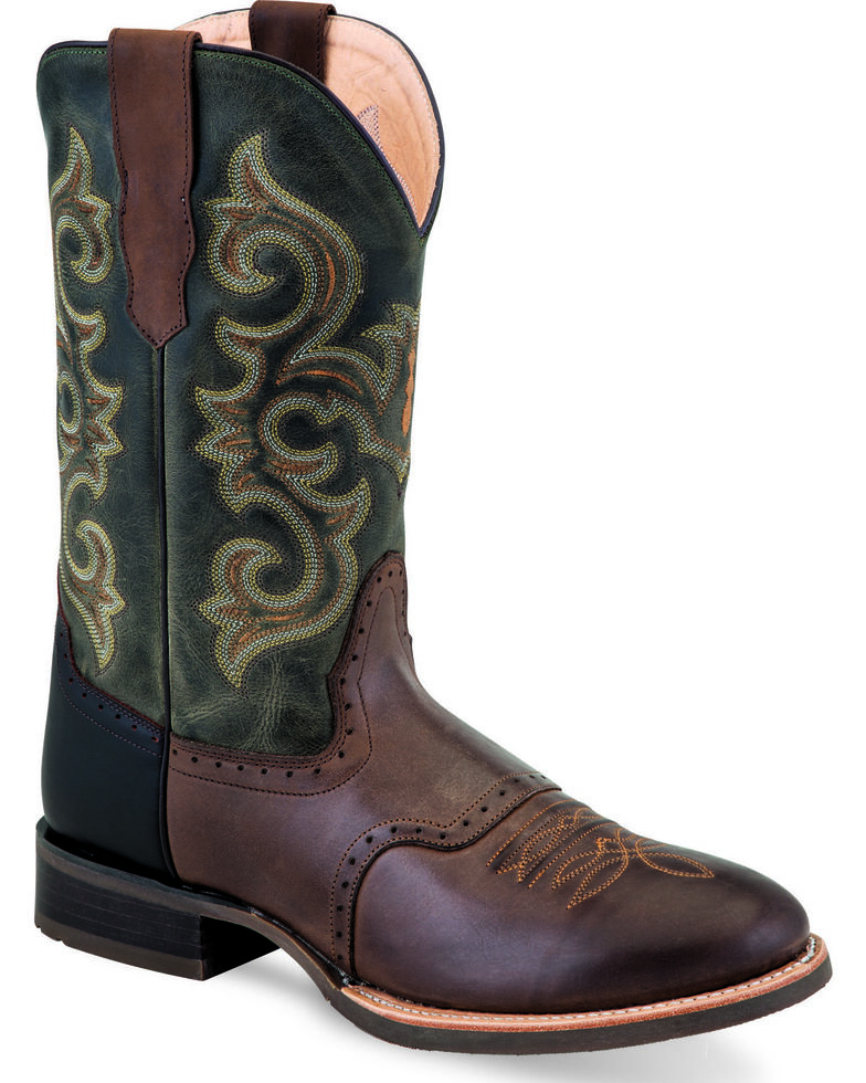 Old West Men's Chocolate Fancy Stitch Cowboy Boots - Round Toe , Chocolate, hi-res
