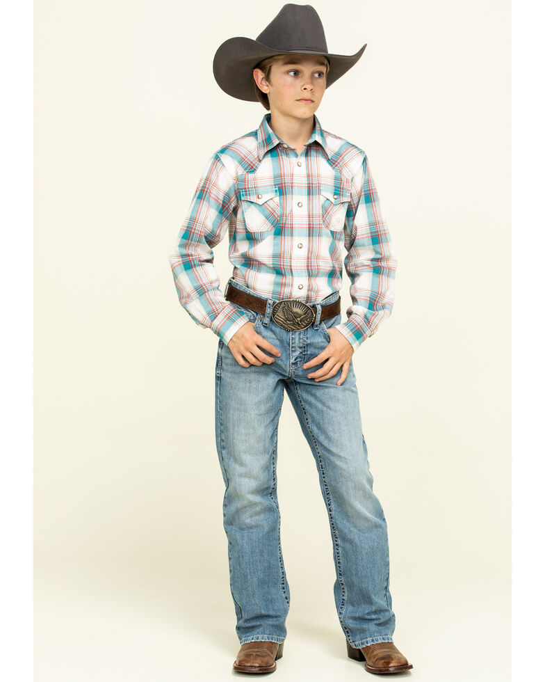 Ariat Boys' Quillbrook Retro Plaid Long Sleeve Western Shirt , Beige/khaki, hi-res