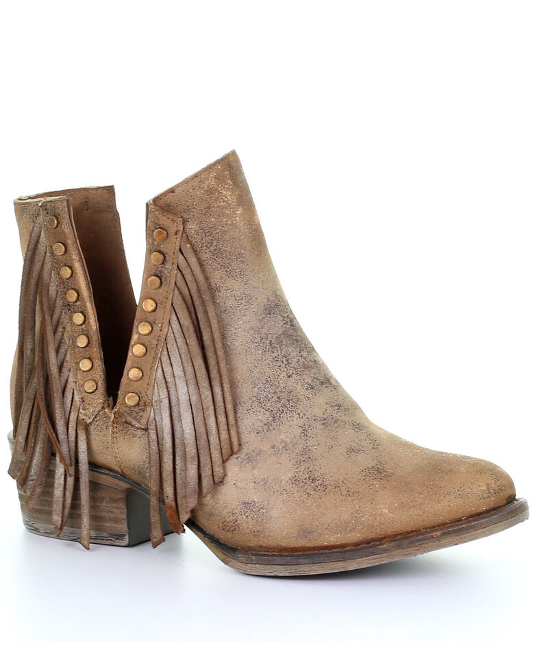 Circle G Women's Brown Studded Fringe Booties - Round Toe, Brown, hi-res