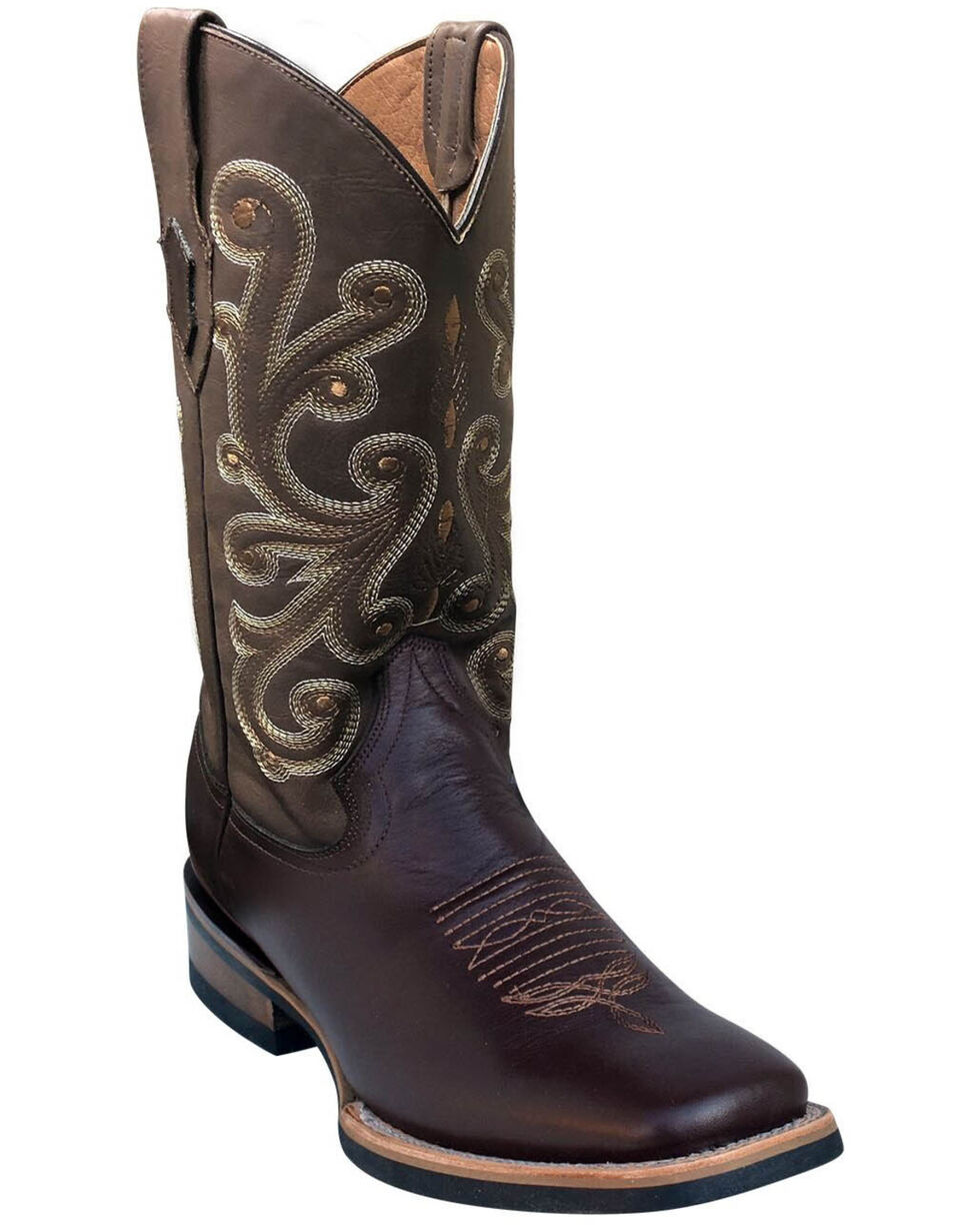 Ferrini Men's Genuine French Calf Western Boots - Square Toe, Chocolate, hi-res