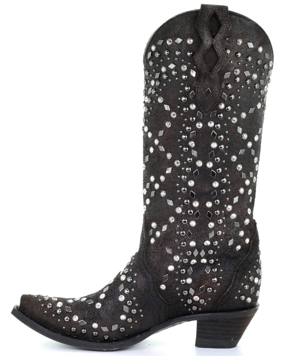Corral Women's Black Full Studded Western Boots - Snip Toe, Black, hi-res
