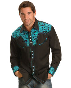 d754960853 Scully Men s Turquoise Gunfighter Western Shirt