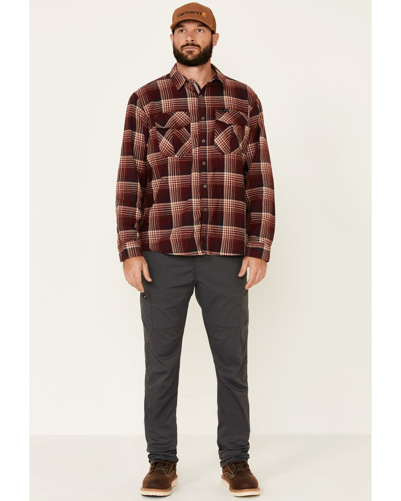 Wrangler All Terrain Men's Coffee Plaid Thermal Lined Long Sleeve Western Flannel Shirt , Red, hi-res