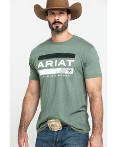 Ariat Men's Green Bar Stripe Graphic T-Shirt , Olive, hi-res