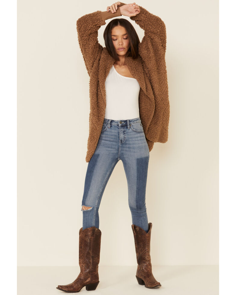 26 International Women's Mocha Hooded Cozy Jacket , Brown, hi-res