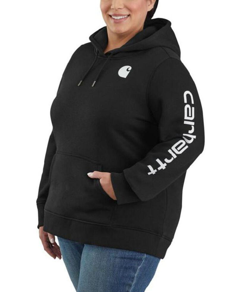 Carhartt Women's Black Clarksburg Sleeve Logo Hooded Sweatshirt - Plus, Black, hi-res