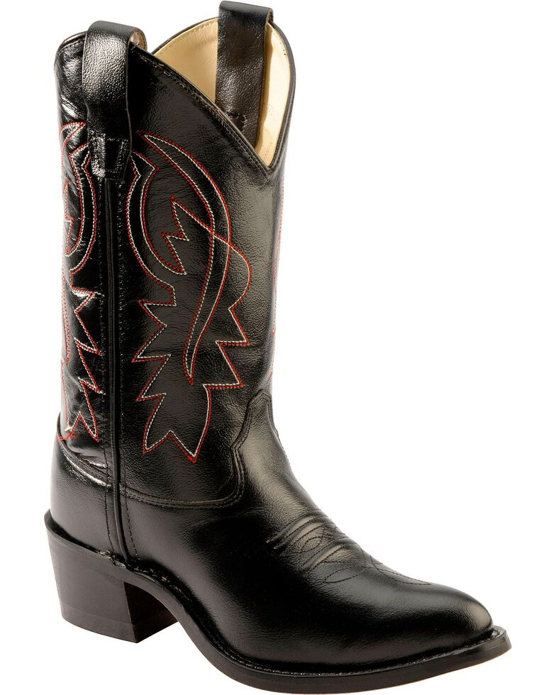 Old West Boys' Black Cowboy Boots, Black, hi-res