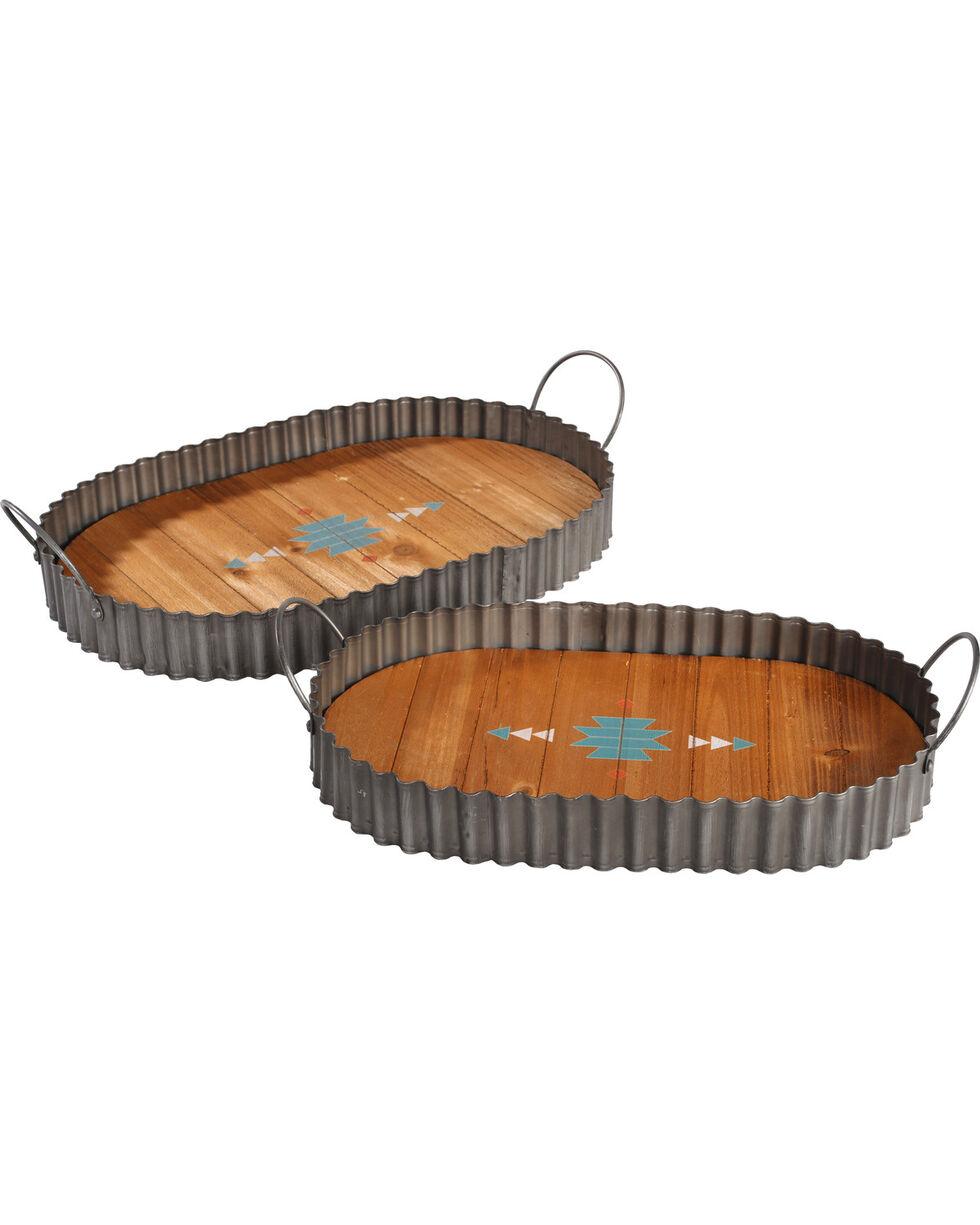 BB Ranch Set of 2 Corrugated Metal Trays, Natural, hi-res