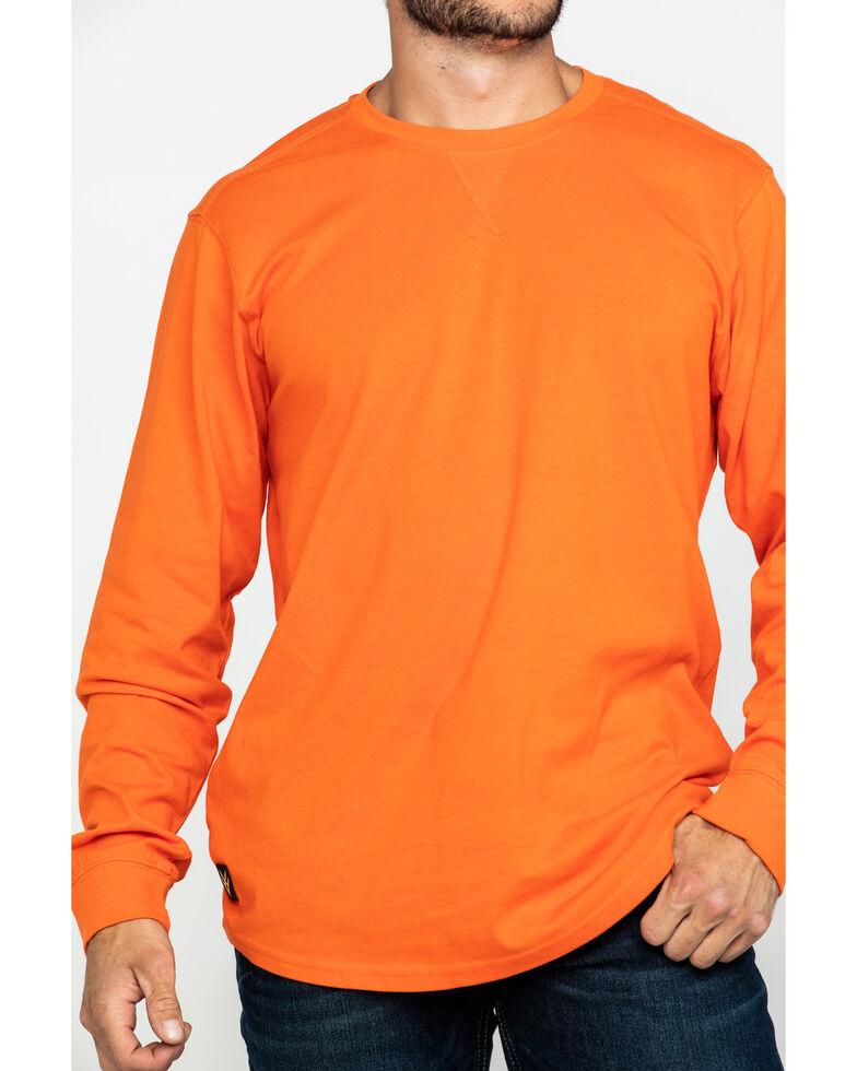 Hawx® Men's Orange Logo Long Sleeve Work T-Shirt , Orange, hi-res