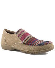 Roper Women's Multi Colored Textile Slip-On Shoes, Tan, hi-res