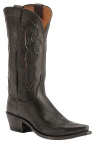 Lucchese Handmade 1883 Fiona Ranch Hand Cowgirl Boots - Snip Toe, Black, hi-res