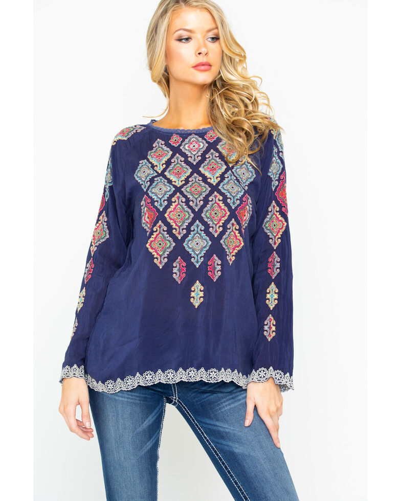 Johnny Was Women's Kikumi Embroidered Long Sleeve Blouse  , Dark Blue, hi-res