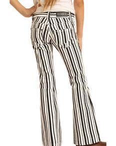 Rock & Roll Denim Girls' Black & White Stripe Trousers , Multi, hi-res