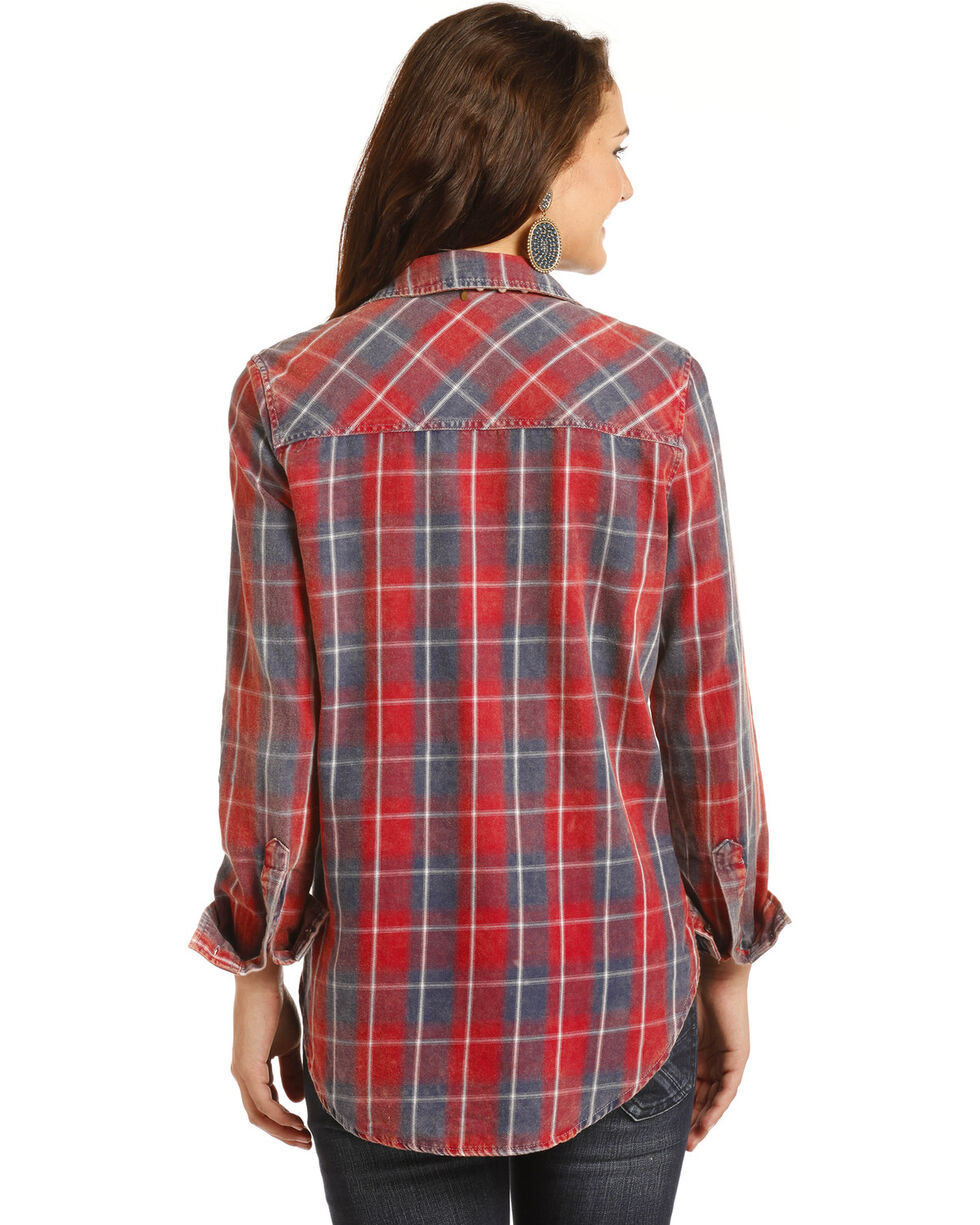 Rock & Roll Cowgirl Women's Light Bleach Washed Twill Plaid Shirt, Red, hi-res