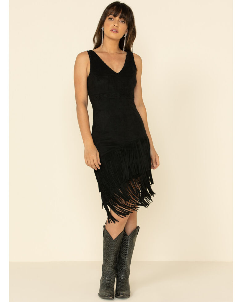 Idyllwind Women's Rocker Fringe Dress, Black, hi-res