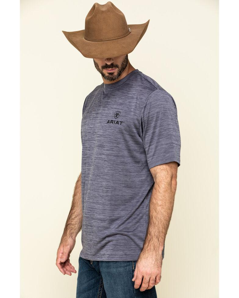 Ariat Men's Grey Charger Vertical Flag Graphic Short Sleeve T-Shirt , Grey, hi-res