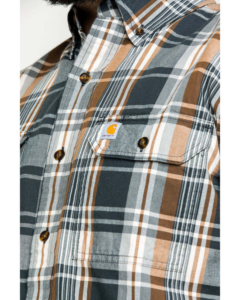 a2f7fd1409 Zoomed Image Carhartt Men's Fort Plaid Long-Sleeve Work Shirt , Grey, hi-res