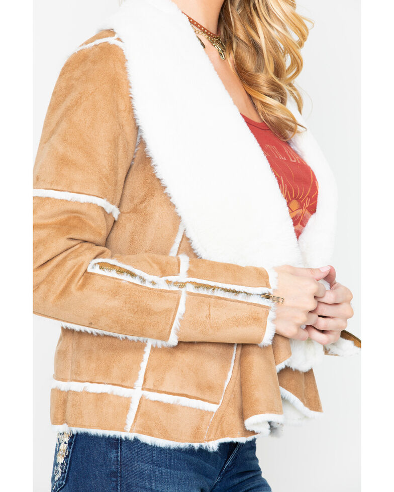 Powder River Outfitters Women's Tan Micro Suede and Fur Jacket , Tan, hi-res