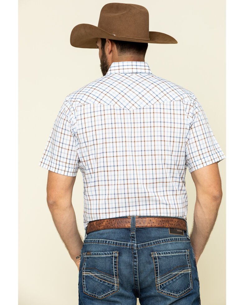 Ely Walker Men's Multi Windowpane Check Plaid Short Sleeve Western Shirt , White, hi-res