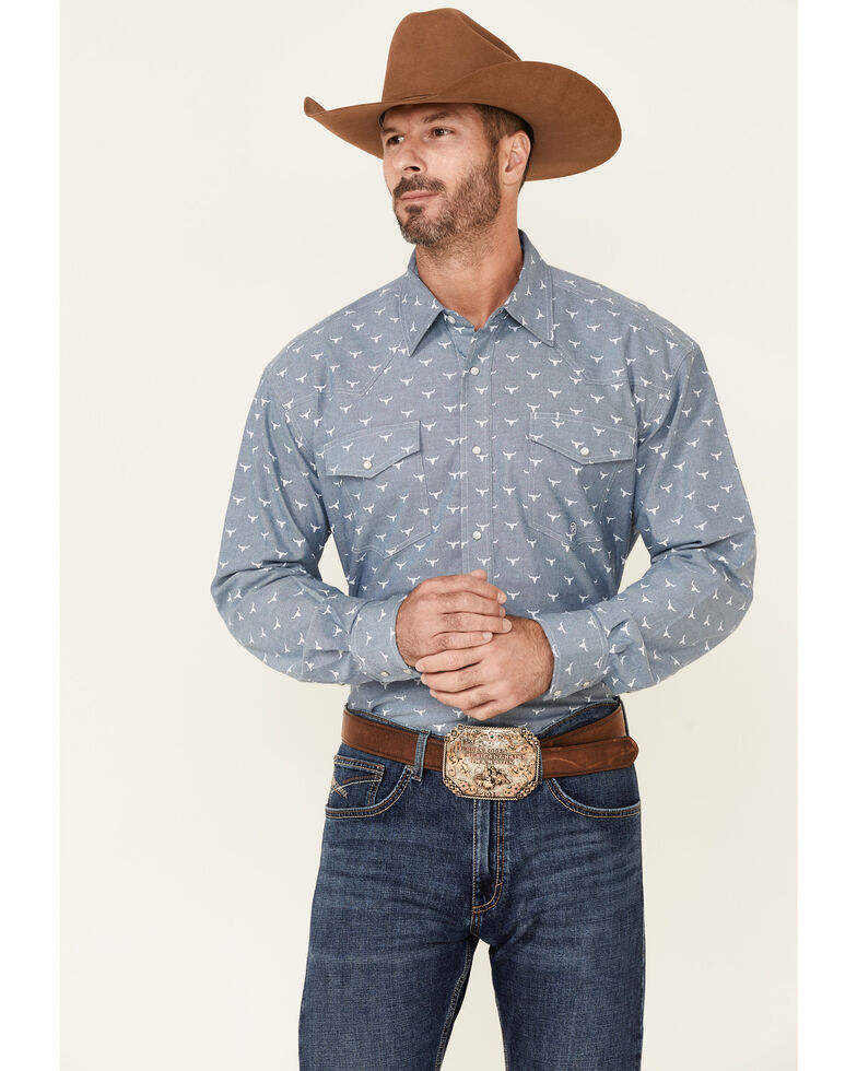Roper Men's American Blues Longhorn Stretch Oxford Print Long Sleeve Snap Western Shirt , Blue, hi-res