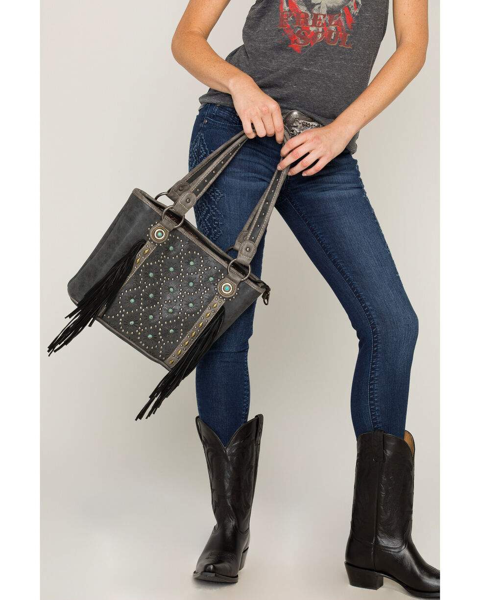 Shyanne Women's Patina Stud Fringe Concealed Carry Tote, Black, hi-res