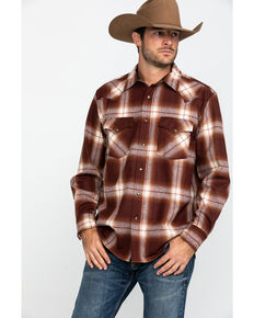 Pendleton Men's Rust Canyon Ombre Plaid Long Sleeve Western Flannel Shirt , Rust Copper, hi-res