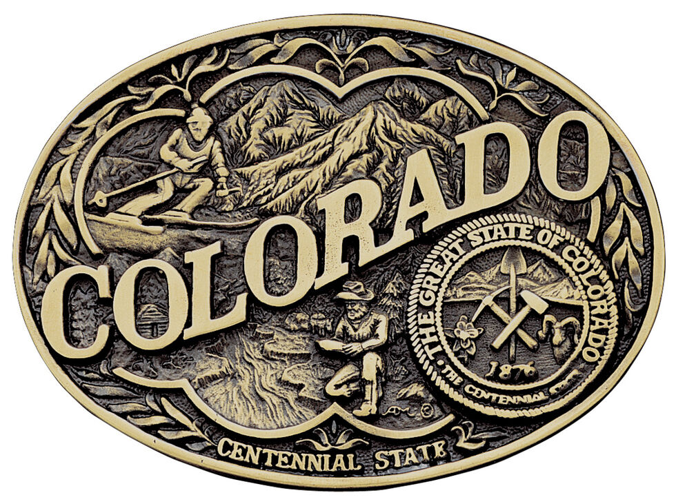 Montana Silversmiths Colorado State Heritage Attitude Belt Buckle, Gold, hi-res