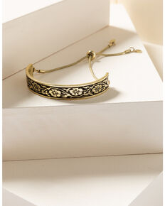 Shyanne Women's Gilded Gold Floral Bracelet, Gold, hi-res