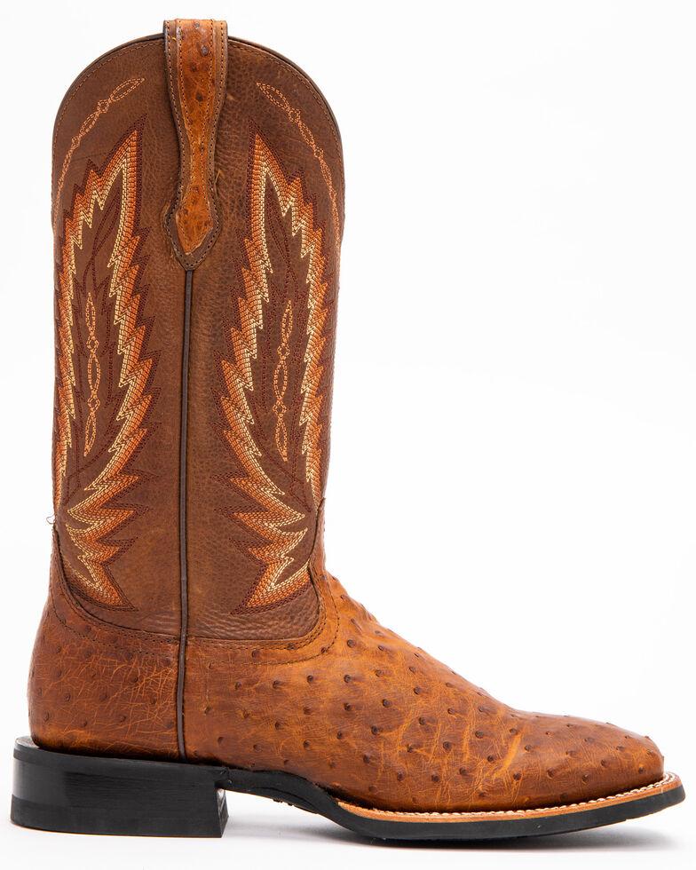 Ariat Men's Tan Platinum Full Quill Ostrich Boots - Square Toe , Tan, hi-res