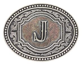 "Montana Silversmiths Men's Initial ""J"" Two-Tone Attitude Belt Buckle, Silver, hi-res"