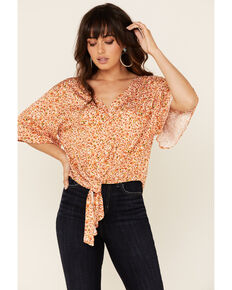 Idyllwind Women's Sunny Days Tie Front Top, Peach, hi-res