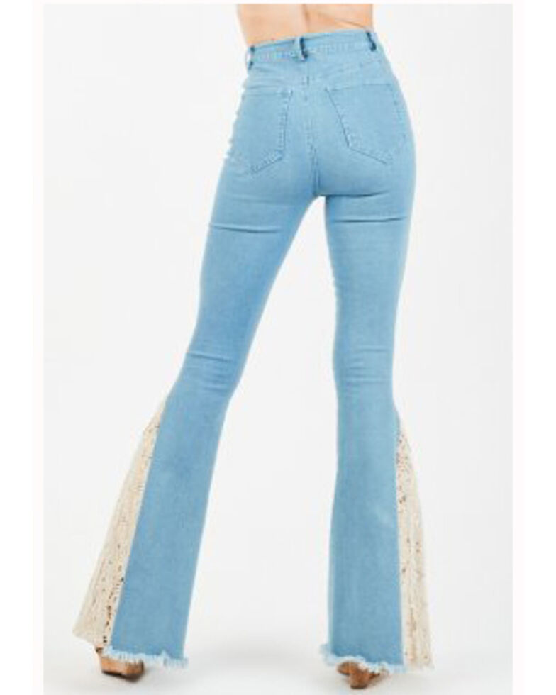 Chrysanthemum Women's Light Wash High Rise Crochet Flare Jeans, Blue, hi-res