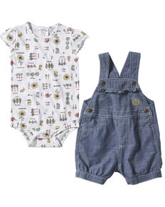 Carhartt Infant Girls' Sunflower Print Onesie & Shortall Set , Blue, hi-res