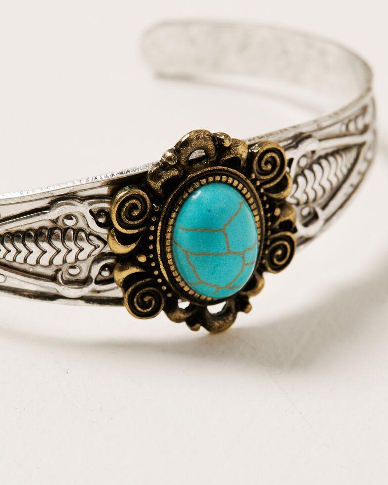 Shyanne Women's Ida Statement Two-Tone Cuff Bracelet, Silver, hi-res
